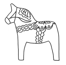 Swedish Dala Horse Coloring Picture Sonlight Grade Readers On Sweden