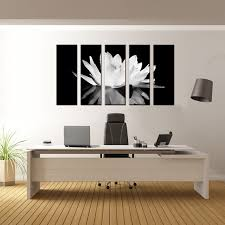 5 pcs set flower white lotus in black wall art modern black and white flower on lotus flower canvas wall art with 5 pcs set flower white lotus in black wall art modern black and