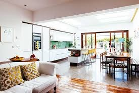 living room extension. open plan kitchen dining living in modern extension room f