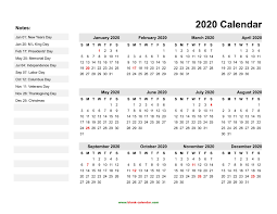 Free Printable 2020 Calendars With Holidays Pleasant To My