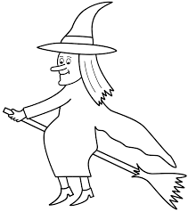 Small Picture Witch on broom Coloring Page Halloween