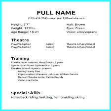 Template Best Beginning Acting Resume Template Free Creative Actor