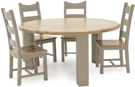 vida living logan round dining table taupe and oak painted cfs uk