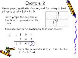 example 2 use a graph synthetic division and factoring to find all roots of