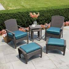 placerville brown 6 piece wicker patio conversation set with turquoise cushion balcony furniture miami