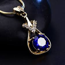 image is loading new fashion gold filled lab blue sapphire necklaces