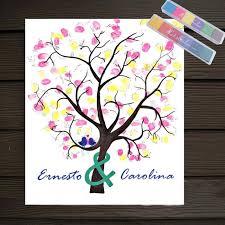 festival personalize wedding souvenirs guest book diy fingerprint tree signature canvas painting romantic decor wedding party