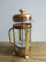 vintage french press coffee maker in brass and copper glass carafe fittings lover gift kitchen decor red vintage french press linen 8 glass oz coffee