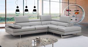 sectional sofa in light grey premium leather by jm