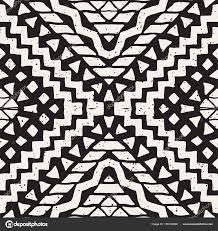 Hand Getrokken Geschilderd Naadloze Patroon Vector Tribal Design