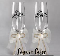 details about personalized vinyl decal for wedding wine glasses champange 2 or 2 5 set