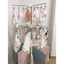 Cây phơi đồ sơ sinh Inox 3 tầng 56 kẹp giá phơi có thể gấp gọn - Phụ kiện  giặt ủi Nhãn hàng No Brand