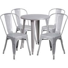 24 round silver metal indoor outdoor table set with 4 cafe chairs