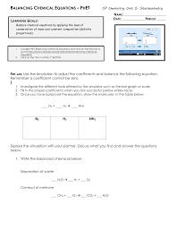 balancing chemical equations worksheet answers instructional fair balancing chemical equations phet tessshlo