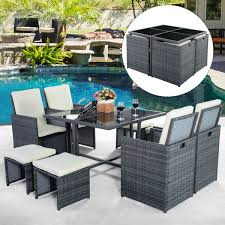 9pc rattan garden home furniture dining table chairs set patio wicker sofa gray