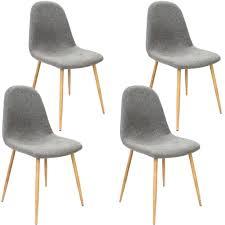 4x Deuba Design Stuhl Esszimmerstühle Küchenstuhl 50cm Sitzhöhe Ergonomisch Geformte Sitzschale 120kg Belastbarkeit Hellgrau