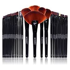 shany professional brush set with leather look pouch 32 count goat badger by shany cosmetics