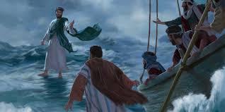 Resultado de imagem para jesus faz pedro anda sobre as aguas
