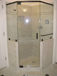 fascinating bathrooms look with custom corner shower ideas fantastic decorating ideas using silver iron towel