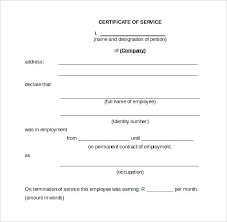 Certificate Of Service Template Download Free Documents In Word A