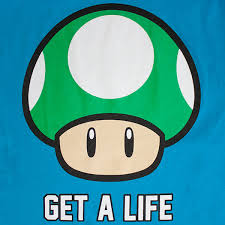 Nintendo Men's Mushroom Get A Life Tee Shirt SuperheroDen Cool Get A Life