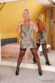 Blonde in mature stocking