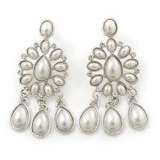 bridal wedding prom glass pearl chandelier earrings in rhodium plating 60mm