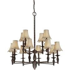 talista 12 light antique bronze chandelier with fabric shades