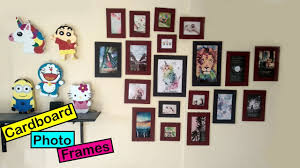 how to make cardboard photo frames at home diy picture frame using cardboard sneha s craft