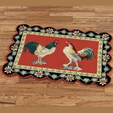 rooster kitchen rug rugs round blue