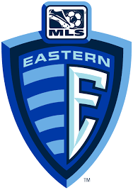 MLS Eastern Conference Primary Logo (2002) - E on a blue Shield with ...