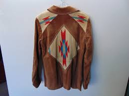 ww49 1970 s vintage womens leather n large woven indian design size 10 jacket 80