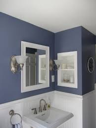 Dark Blue Bathroom Bathroom Paint Colors With Gray Vanity Twin Gray Round Mirror