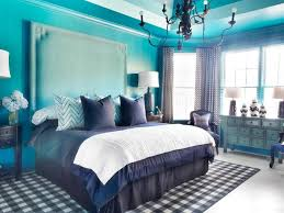 Bedroom:Royal Blue Master Bedroom Decor Ideas With Black Iron Bed Frame  Also Round Wooden