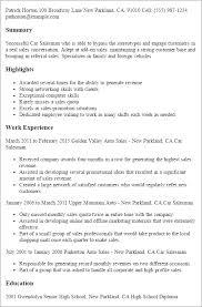Car Sales Resume Kordurmoorddinerco Unique Car Sales Resume