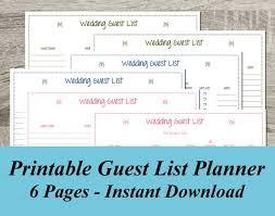 Printable Wedding Guest List Organizer Instant Download Wedding Guest List Pdf Wedding Planning 6