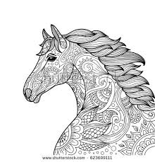 Small Picture Drawing Unicorn Zentangle Style Coloring Book Stock Vector