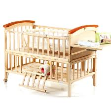 high quality pine wood baby bed no paint environmental protection baby crib portable baby playpen crib