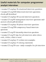 top computer programmer analyst resume samples  12 useful materials for computer programmer analyst