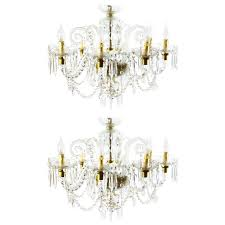 superb pair of vintage venetian eight light crystal chandeliers for