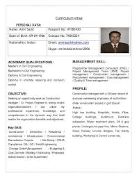 Curriculum Vitae Of Civil Engineer For Construction Manager