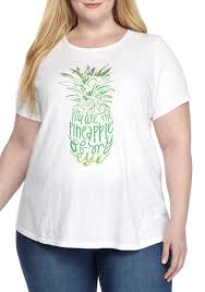 Crown Ivy Plus Size Short Sleeve Pineapple Poetry Tee