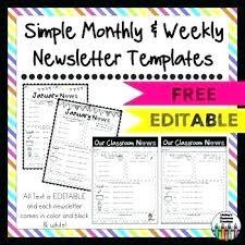 Monthly Newsletter Template For Teachers Classroom Schedule Template For Teachers Editable Class Newsletter