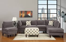 adorable white square gray sectional sofa with cushions and charming white rug on laminate floor