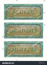 Nameplate Design For School Bronze Sign Plaque Education System School Stock Photo Edit