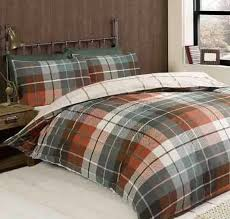 details about lomond king size duvet set 100 brushed cotton flannelette terracotta bedding hs
