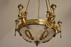 antique louis xvi style chandelier with cherubs in gilt bronze for antique bronze cherub chandelier