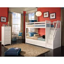 white painted mahogany wood low bunk bed with stairs placed on the black varnished wooden floor awesome black painted mahogany
