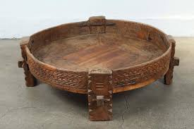great moroccan round tribal table made of wood and iron hand carved with