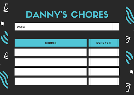 Black And Blue Patterned Teenagers Chore Chart Templates
